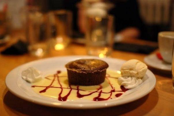 Warm chocolate cake at Brasserie Les Brassins, Brussels