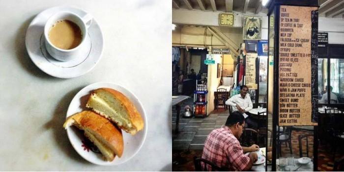"Late breakfast of ""Bun Maska"" and ""Chai"" at the old Irani cafe B. Merwan in Grant Road, Mumbai."