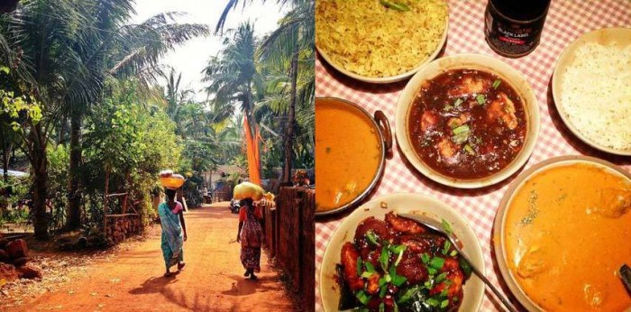 Lazily strolling in Agonda and having dinner with fish curry, chicken manchurian, lemon rice, chilli chicken, goan prawn curry, chicken tandoori and naan!