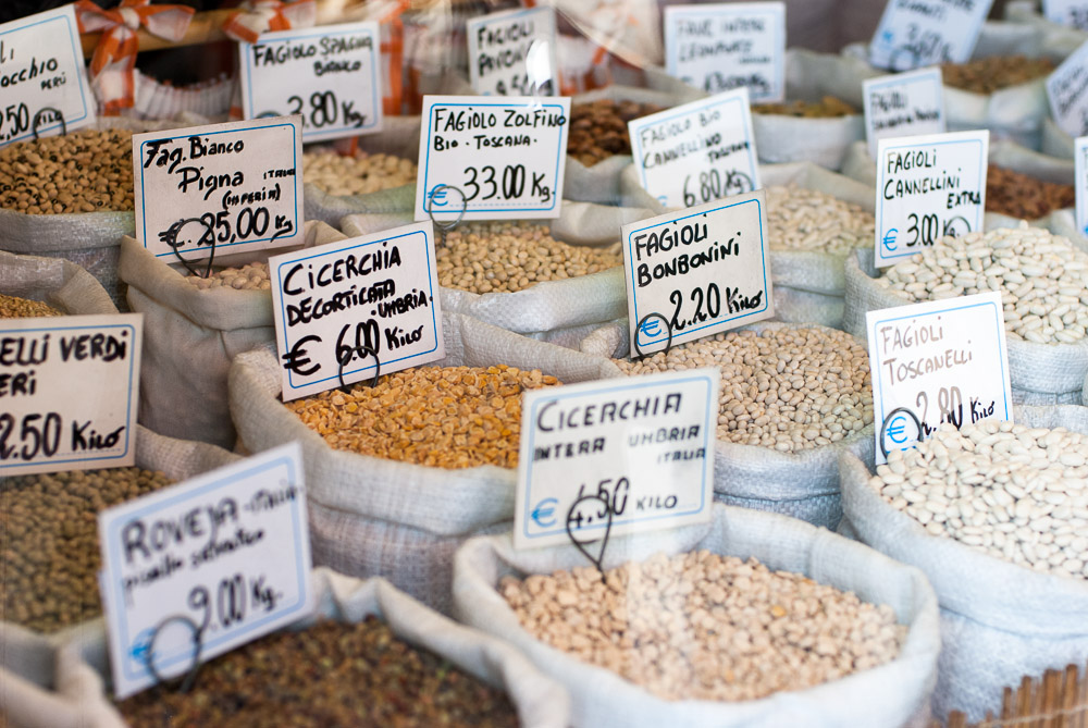 A stall at a food market in Turin, Italy
