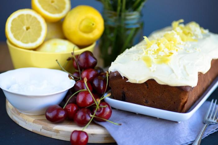Lemon Yogurt Cherry Cake Recipe-4