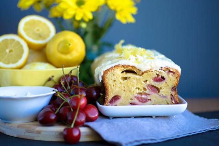 Lemon Yogurt Cherry Cake Recipe-9
