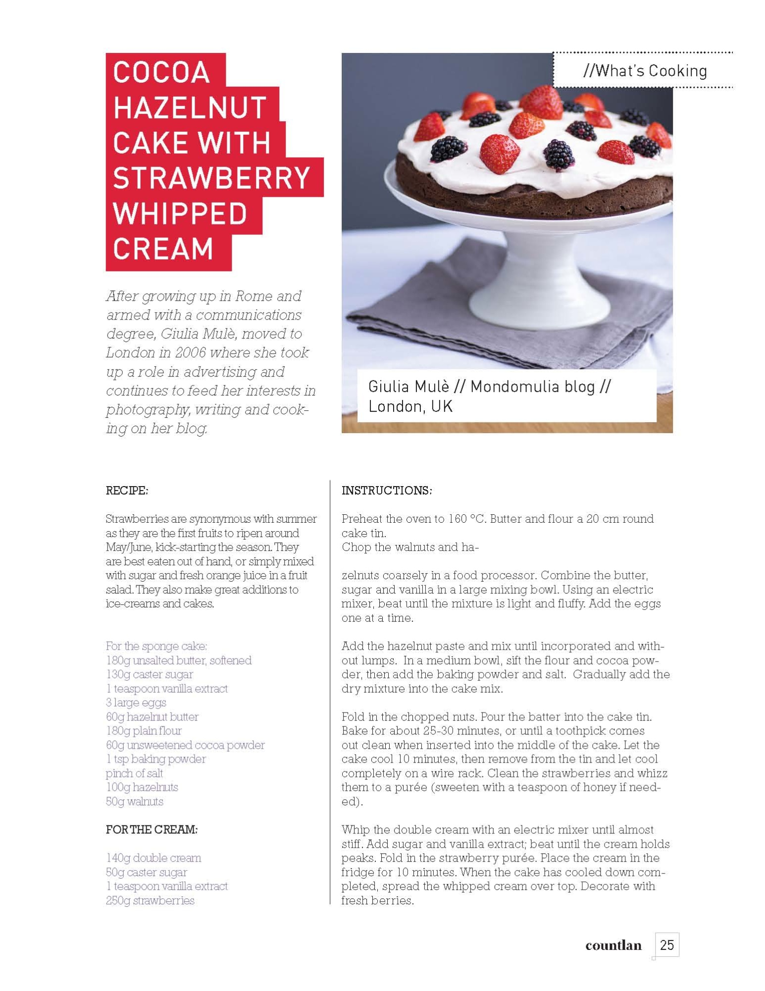 Cocoa Hazelnut Cake with Strawberries and Whipped Cream