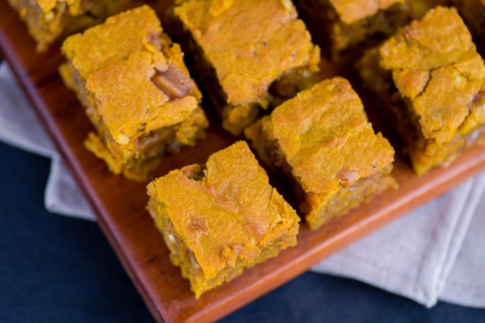 Pumpkin Blondies with Fudge Chunks, White Chocolate & Peanuts