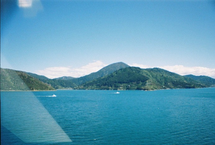 The ferry crossing from north to south island in New Zealand