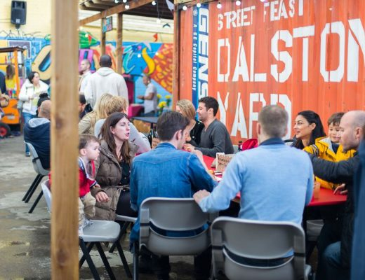 Street Feast food market at Dalston Yard, Haggerston, East London