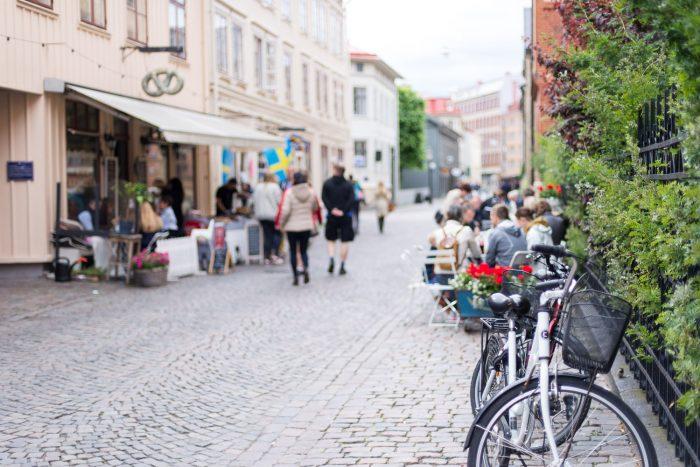 A charming street in the Haga district, the oldest neighbourhood in Gothenburg, Sweden