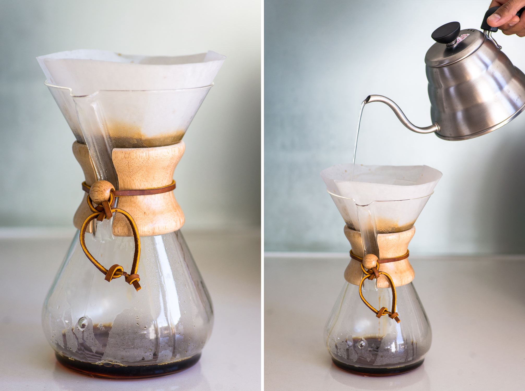 Pouring water from a Hario kettle into a Chemex to brew coffee