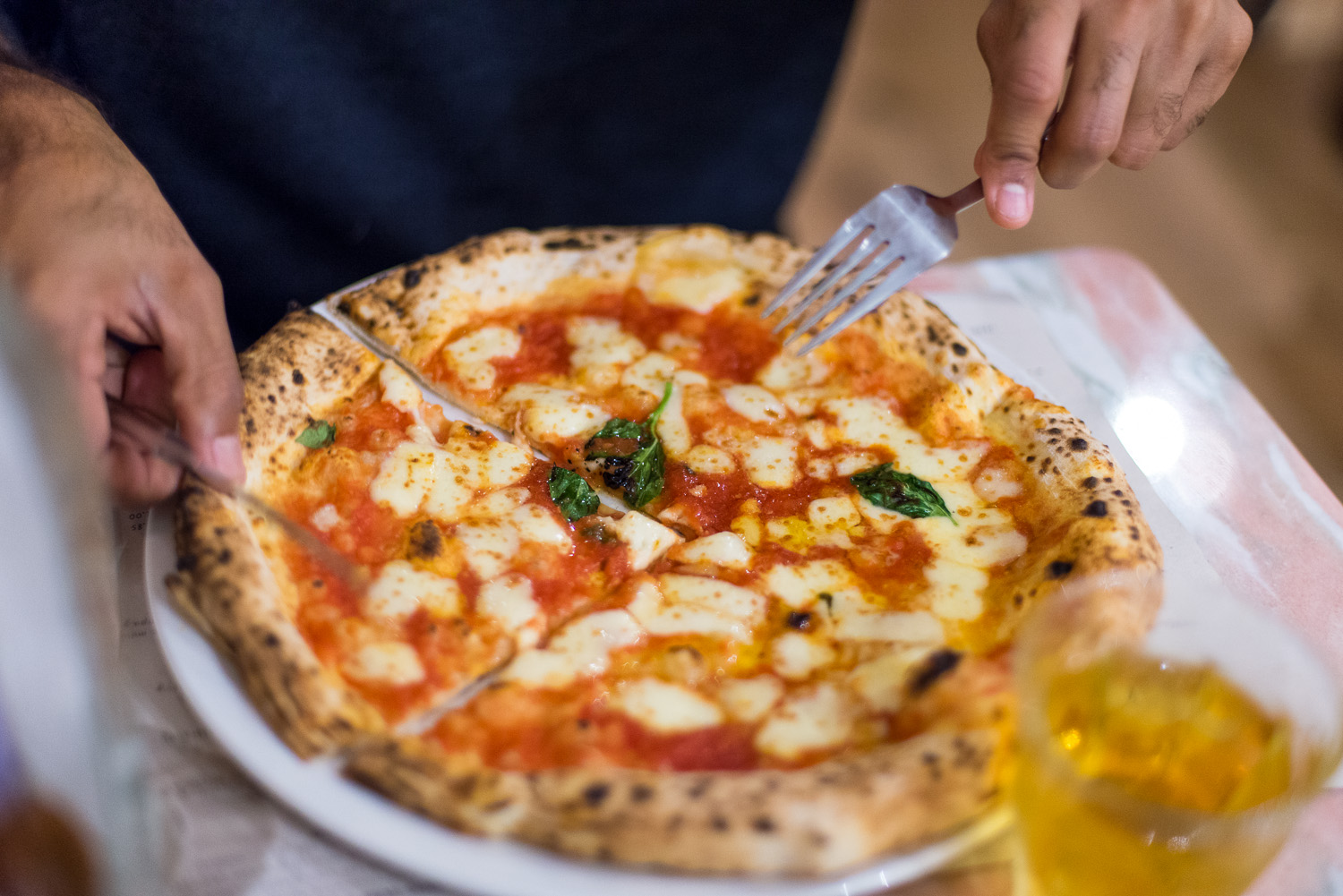 Pizza at Franco Manca in East Dulwich, London