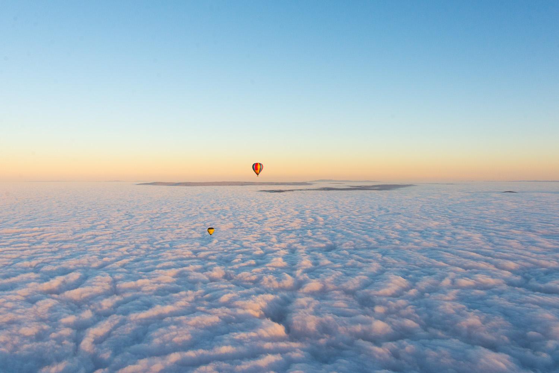 sunrise hot balloon flight over Yarra Valley in Australia