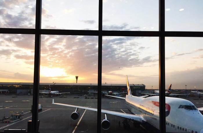 Sunrise at Heathrow Airport. British Airways flight.