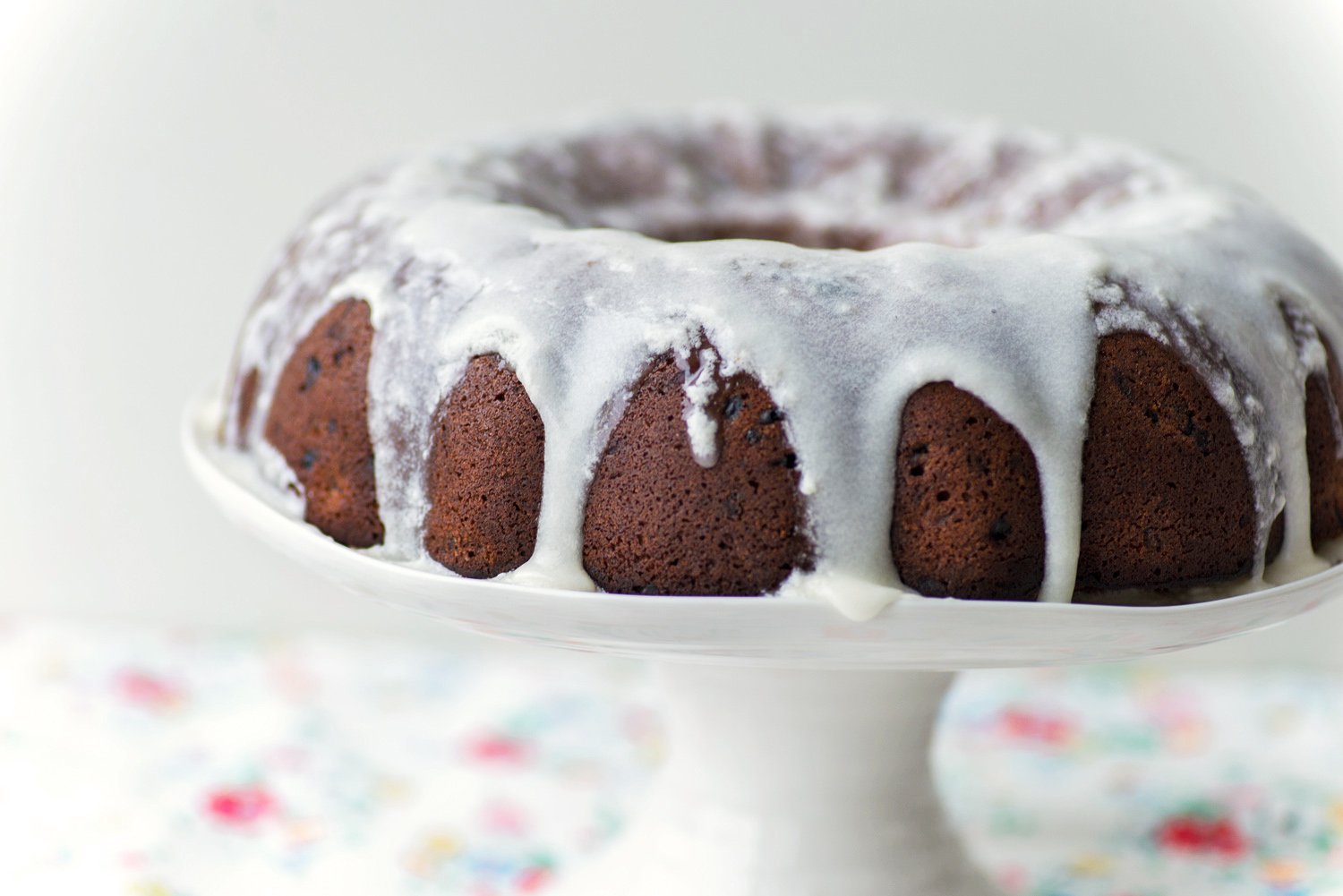 Raspberry Buttermilk Bundt Cake with sugar glaze
