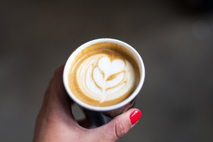 Flat White coffee in takeaway cup