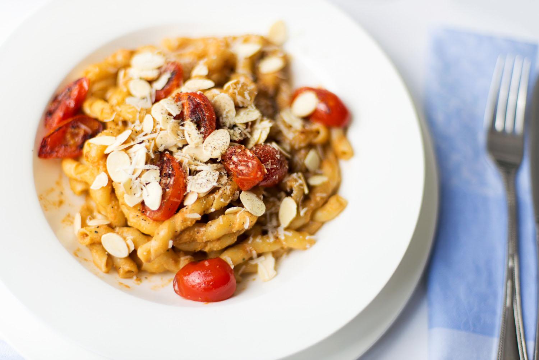 Busiate pasta alla Trapanese (with Trapani style pesto sauce)