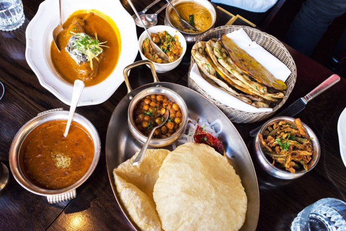 Indian dishes at Gymkhana restaurant in Mayfair, London
