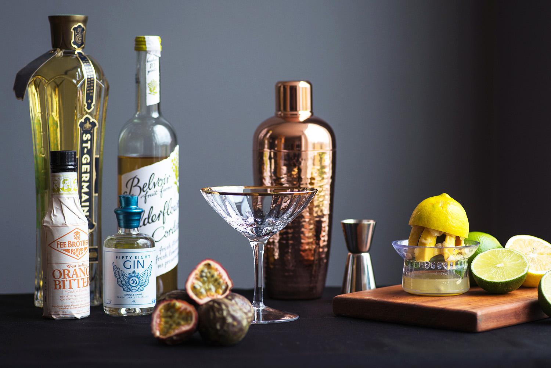 Sunflower cocktail: gin, elderflower, passion fruit