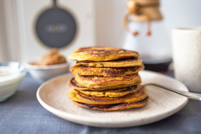 Sweet Potato Pancakes with Yoghurt and Date Paste. Recipe from NOPI cookbook by Yotam Ottolenghi & Ramael Scully. #mondomulia