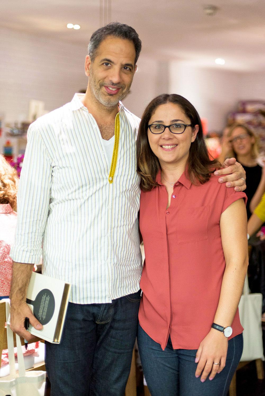 Chef and cookbook author Yotam Ottolenghi with Giulia Mulè, blogger at Mondomulia, at NOPI in London