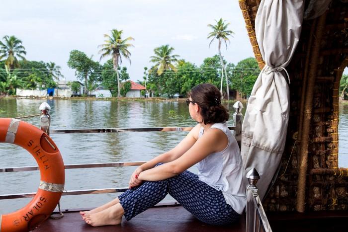 Cruising along the backwaters in Alleppey in Kerala