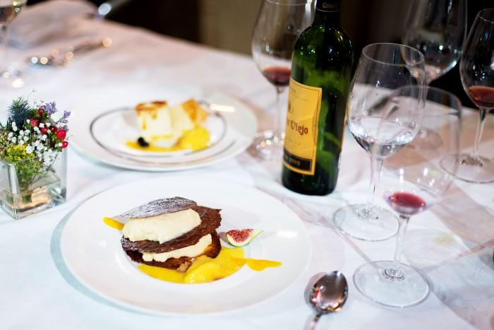 Dessert with vintage red Rioja wine at Rekondo restaurant in San Sebastian, Spain