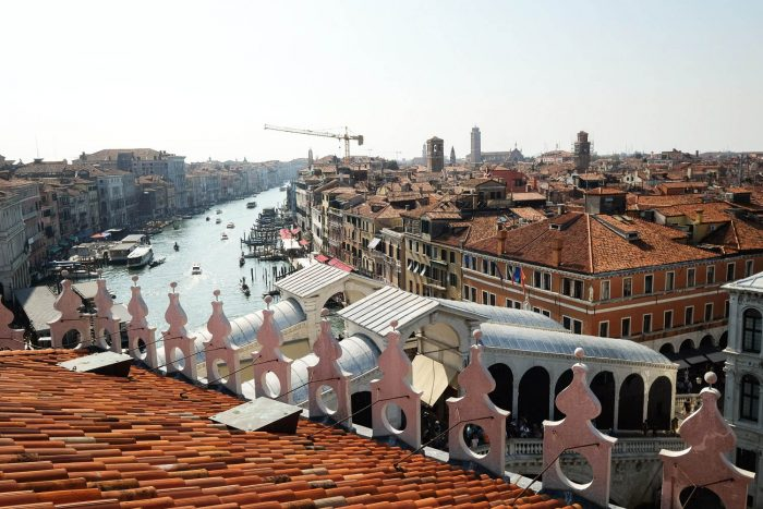 The view from the terrace at Fondaco dei Tedeschi in Venice