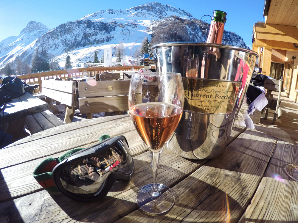 Laurent Perrier Champagne at Le Yule Hotel in Val d'Isere