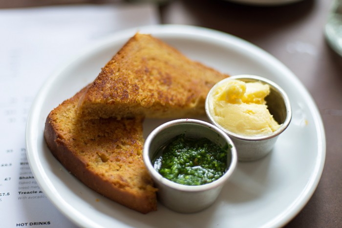 Cornbread Slice - Brunch at The Good Egg restaurant in Stoke Newington, London.