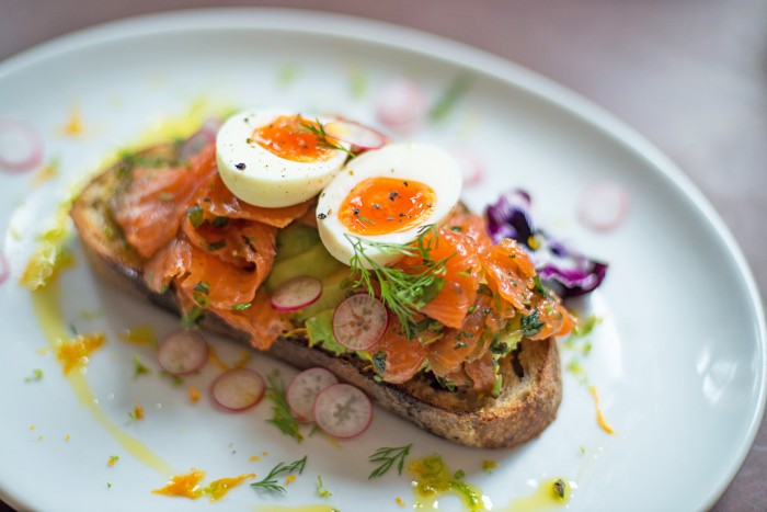 Cured Trout with Avocado and Egg - Brunch at The Good Egg restaurant in Stoke Newington, London.