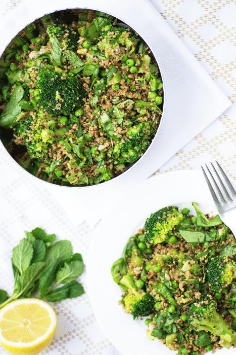 Supergreen Quinoa Salad with Merchants Gourmet quinoa and green vegetables {photography and recipe by Mondomulia}
