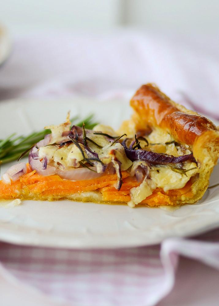 Sweet Potato, Gruyere Cheese and Rosemary Puff Pastry Tart.