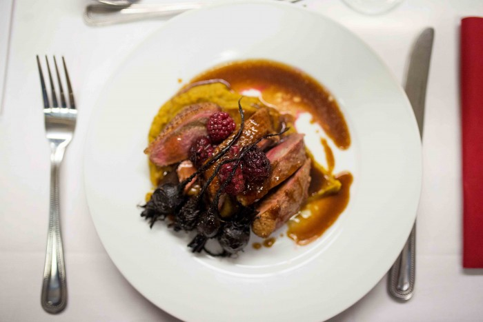 Curried parsnip, griddled duck breast, smoked porter reduction, roasted beets, fortified berries - Basement Galley Supperclub in London