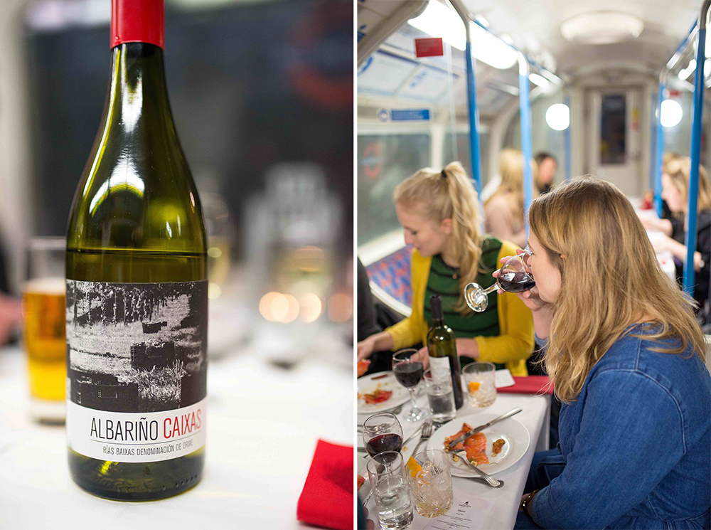 Dinner in a Victoria line tube carriage: Basement Galley Supperclub in London
