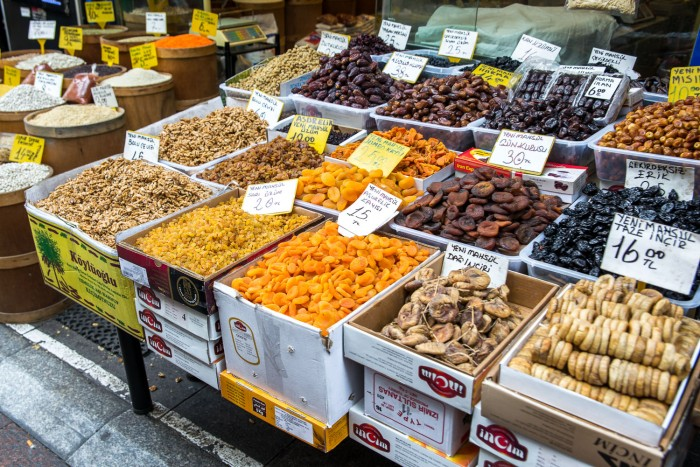 Dried fruits on sale on the streets in Kadikoy, Istanbul