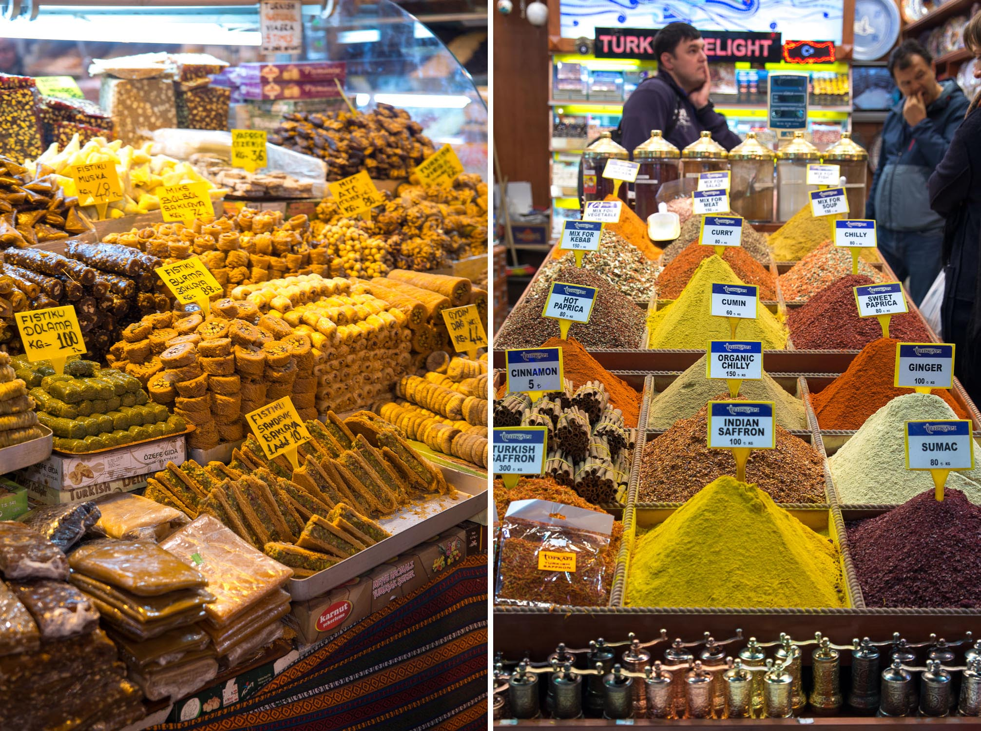 Baklava and spices at the Spice Bazaar, Istanbul Turkey