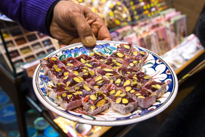 Turkish Delights on sale in the Spice Bazaar in Istanbul, Turkey