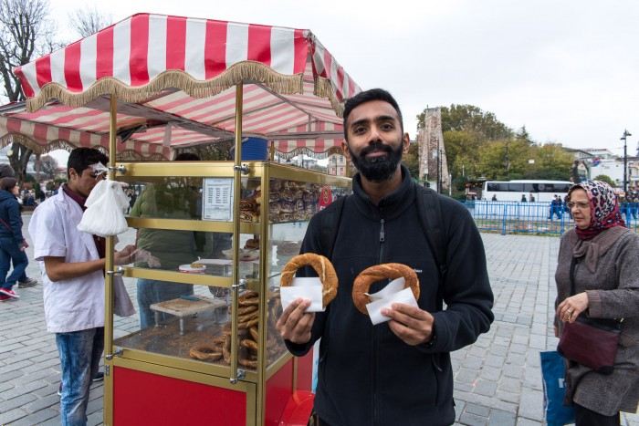 A street cart selling simit, Turkish bread, in Istanbul