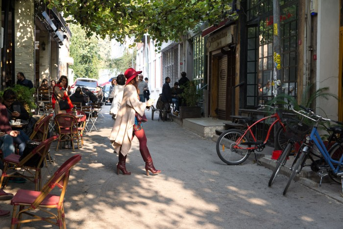 The lively Karakoy neighbourhood in Istanbul, Turkey