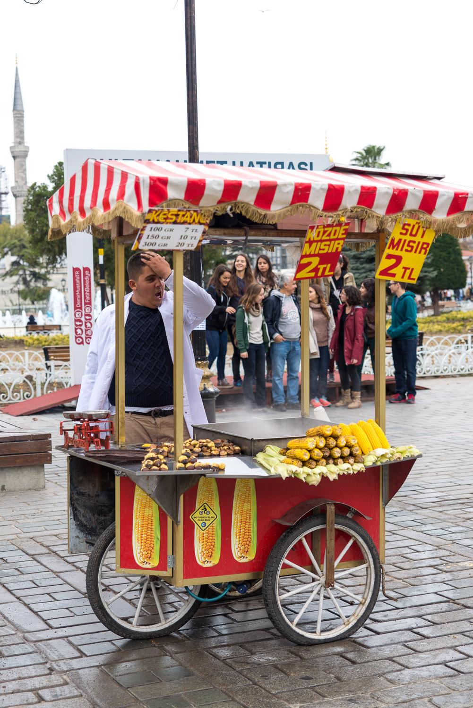 Street food seller in Istanbul, Turkey