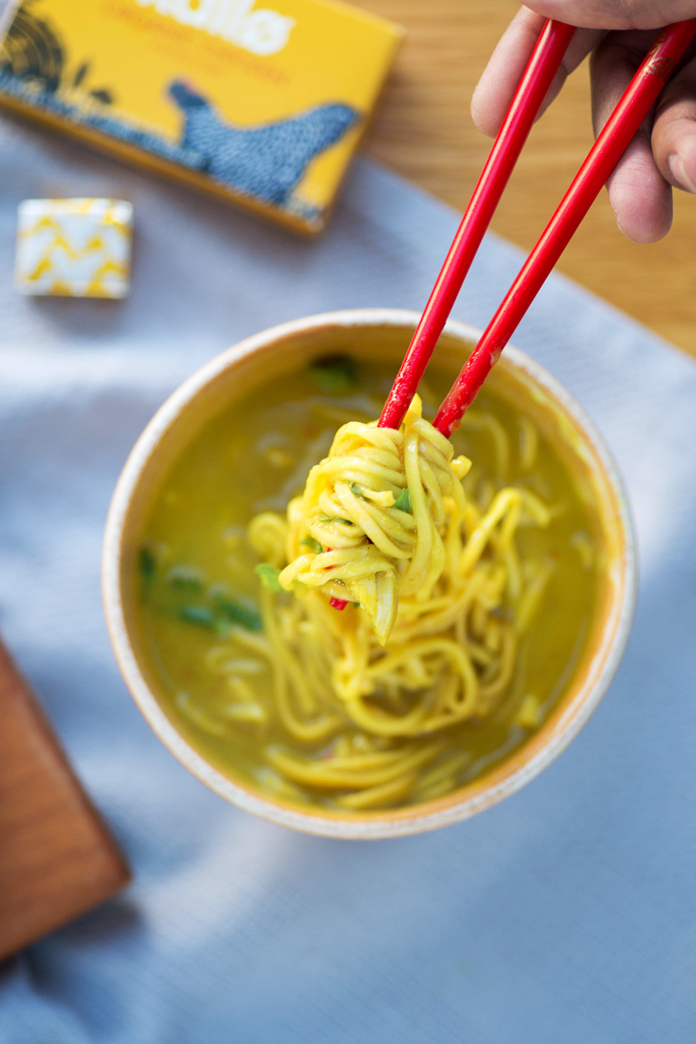 Thai Chicken Noodle Soup recipe with coconut cream, lemongrass and coriander