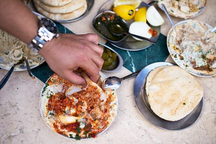 Hummus in Carmel Market, Tel Aviv, Israel