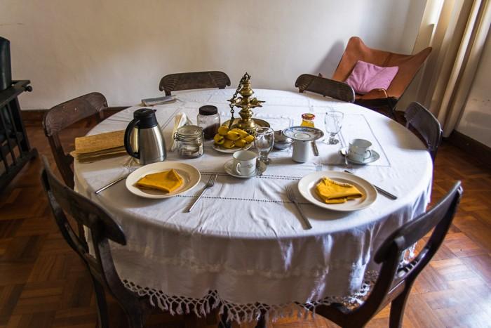 Breakfast in our guesthouse in Colombo, Sri lanka