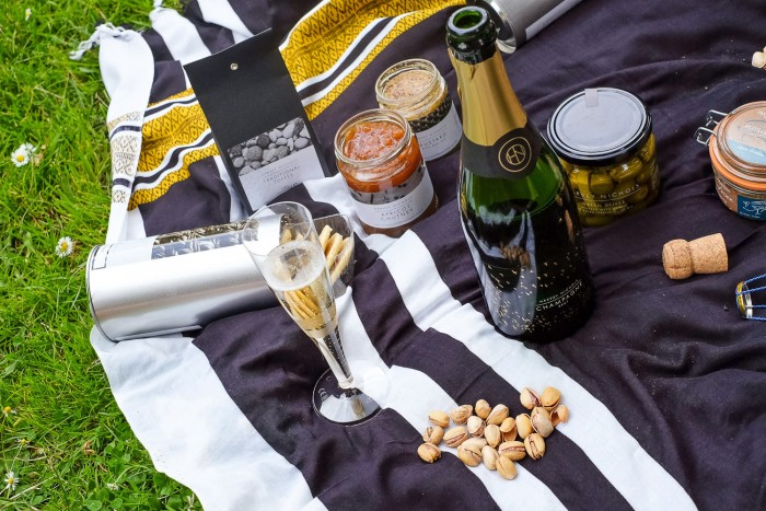 food and Champagne for a romantic picnic uin the park