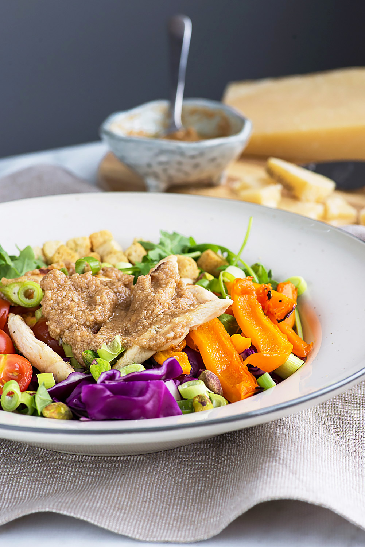 Chicken Rainbow Salad with Grana Padano cheese vinaigrette