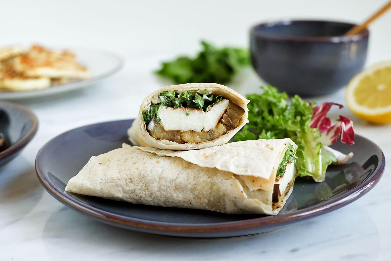 Grilled halloumi and aubergine wrap with yoghurt sauce