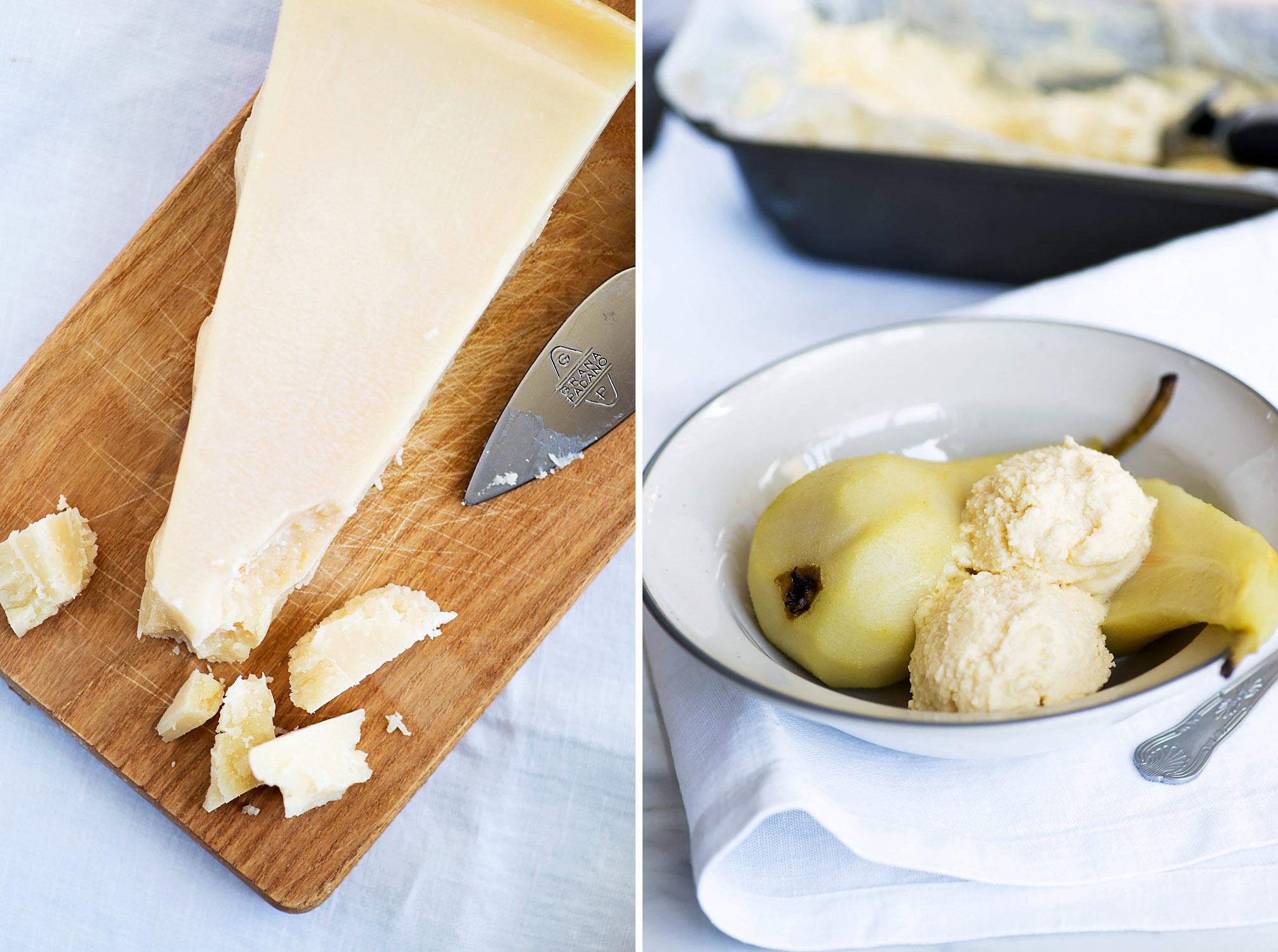 Poached Pears with Grana Padano Cheese Ice Cream