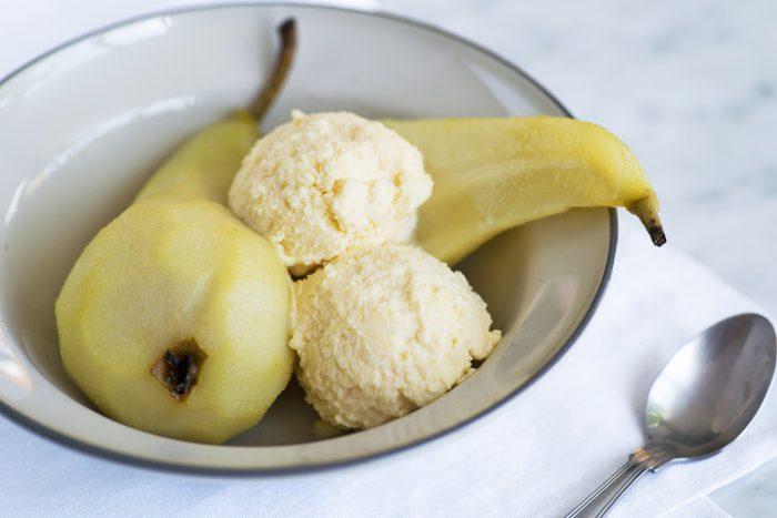 Poached Pears with Grana Padano Ice Cream