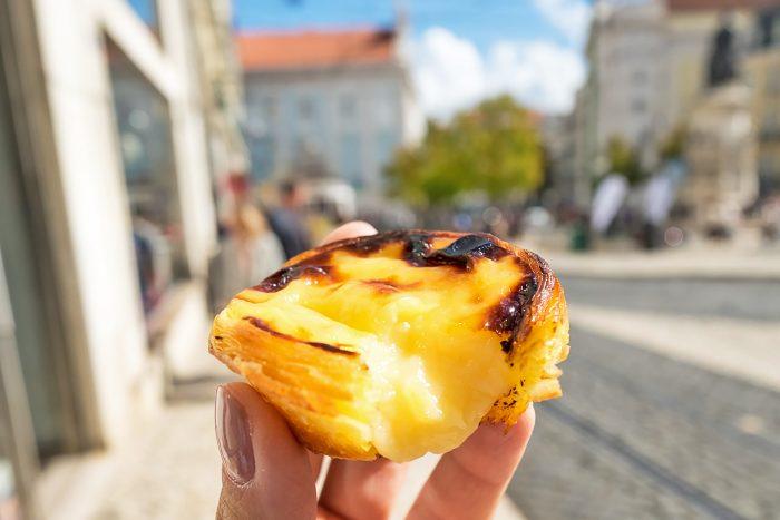 Pasteis de Nata (custard egg tarts) at Manteigaria bakery in Lisbon