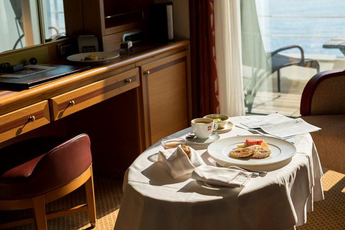 Breakfast room service - Veranda Suite on Silver Spirit Luxury Cruise with Silversea