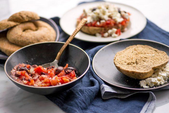 "Cretan 'Dakos' Barley Rusk with Tomato, Feta, Olives. <div class=""hrecipe jetpack-recipe"" itemscope itemtype=""https://schema.org/Recipe""><div class=""jetpack-recipe-content""></div></div>"