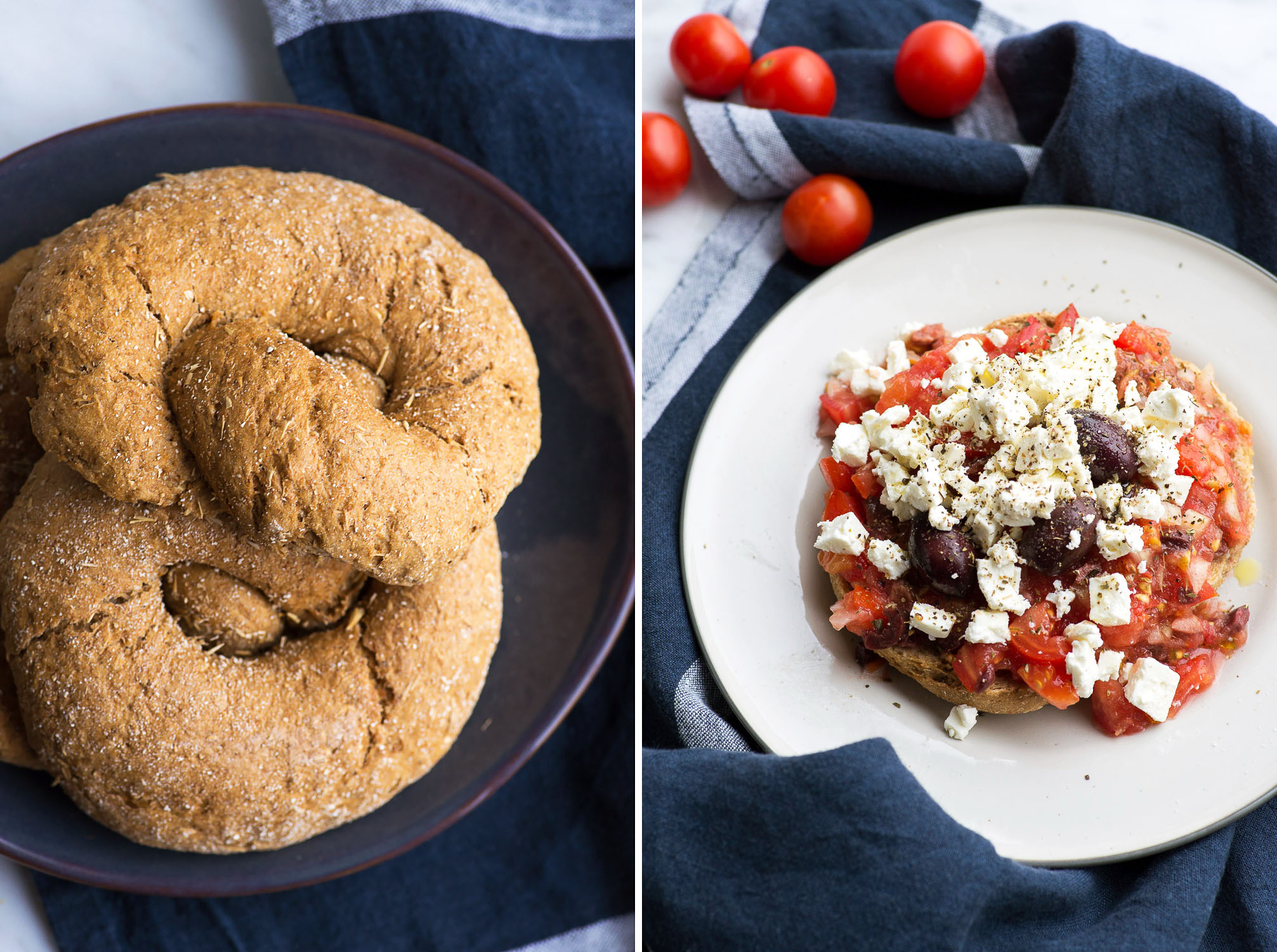 "Cretan 'Dakos' Barley Rusk with Tomato, Feta, Olives. <div class=""hrecipe jetpack-recipe"" itemscope itemtype=""https://schema.org/Recipe""><div class=""jetpack-recipe-content""></div></div>"